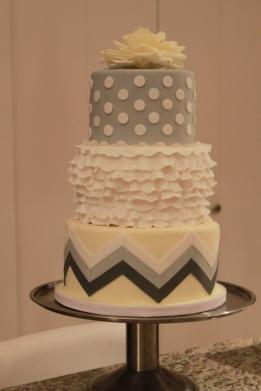 Grey and Yellow Chevron Ruffled Shower Cake