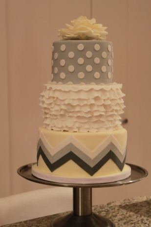 Grey and Yellow Chevron Ruffled Shower Cake