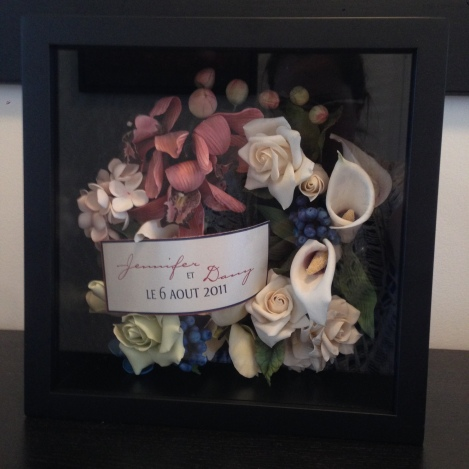 Shadowbox of the flower remains
