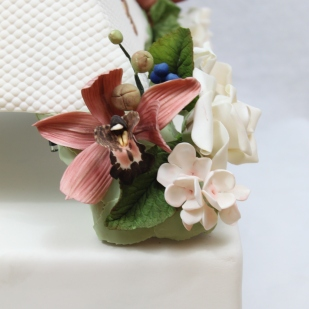 Closeup of Orchid on My Wedding Cake