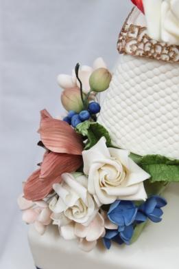 Closeup of Flowers on My Wedding Cake
