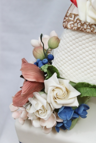 Closeup of Flowers on My Wedding Cake
