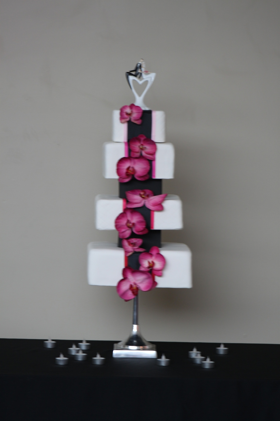 Four Tier Orchid Waterfall Cake